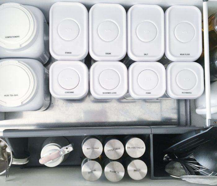 ★キッチン収納★調味料をoxoポップコンテナとiwakiオイル差しに♪