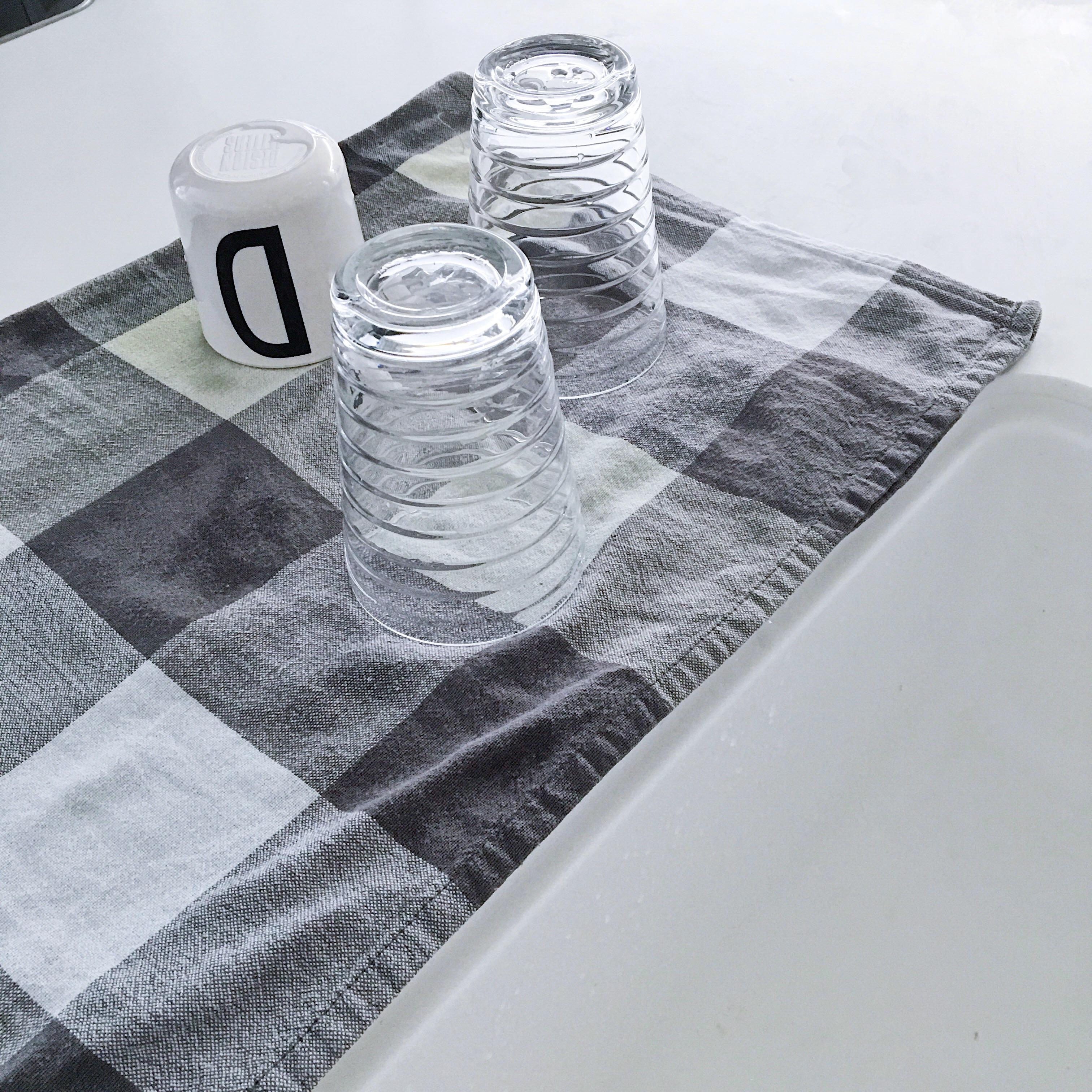 北欧ティータオルを活用★洗い物ラックを撤去して広々シンクに!
