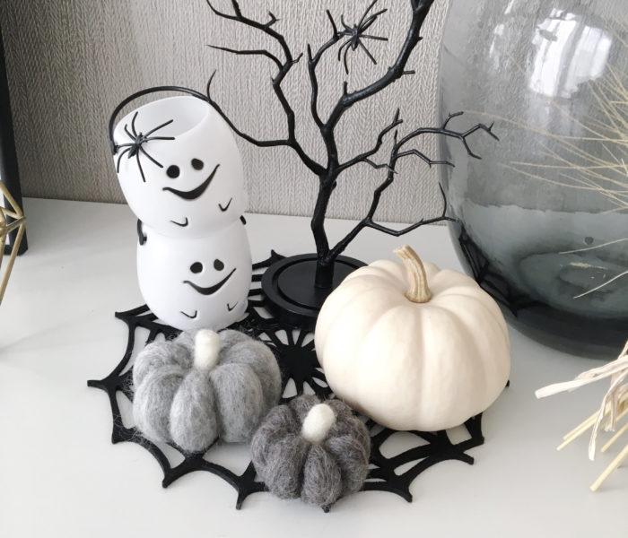 ★ダイソーでハロウィン★羊毛フェルトでモノトーンかぼちゃ作り♪