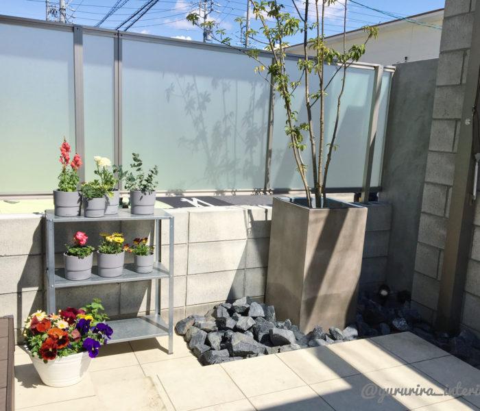 庭活★地植え→ポット植えにした庭の木々とIKEA棚の花たち
