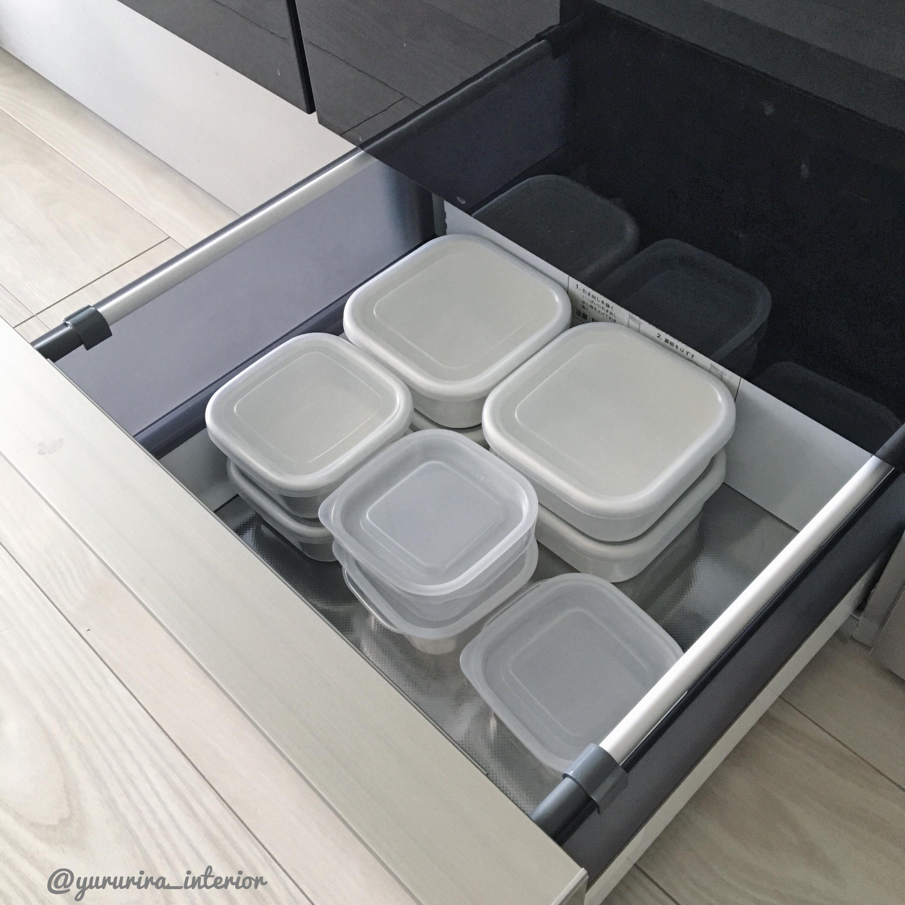 楽天・セリア★シンプルホワイトな食品保存容器とその収納