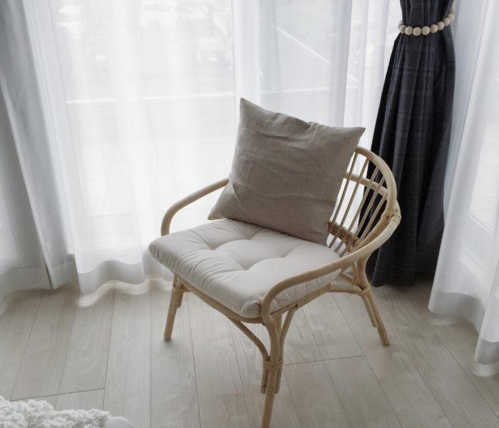 IKEA★流行のナチュラル素材のパーソナルチェアを主寝室に