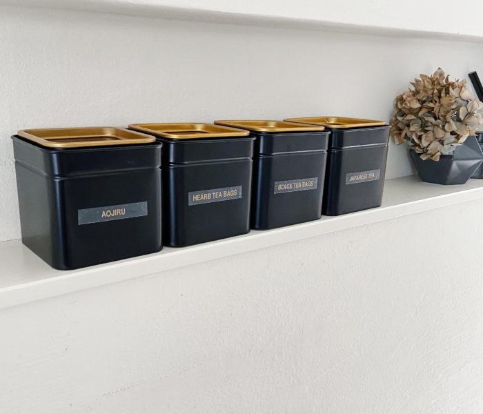 IKEA★ 黒×ゴールドのおしゃれ茶缶で日本茶・紅茶の保管