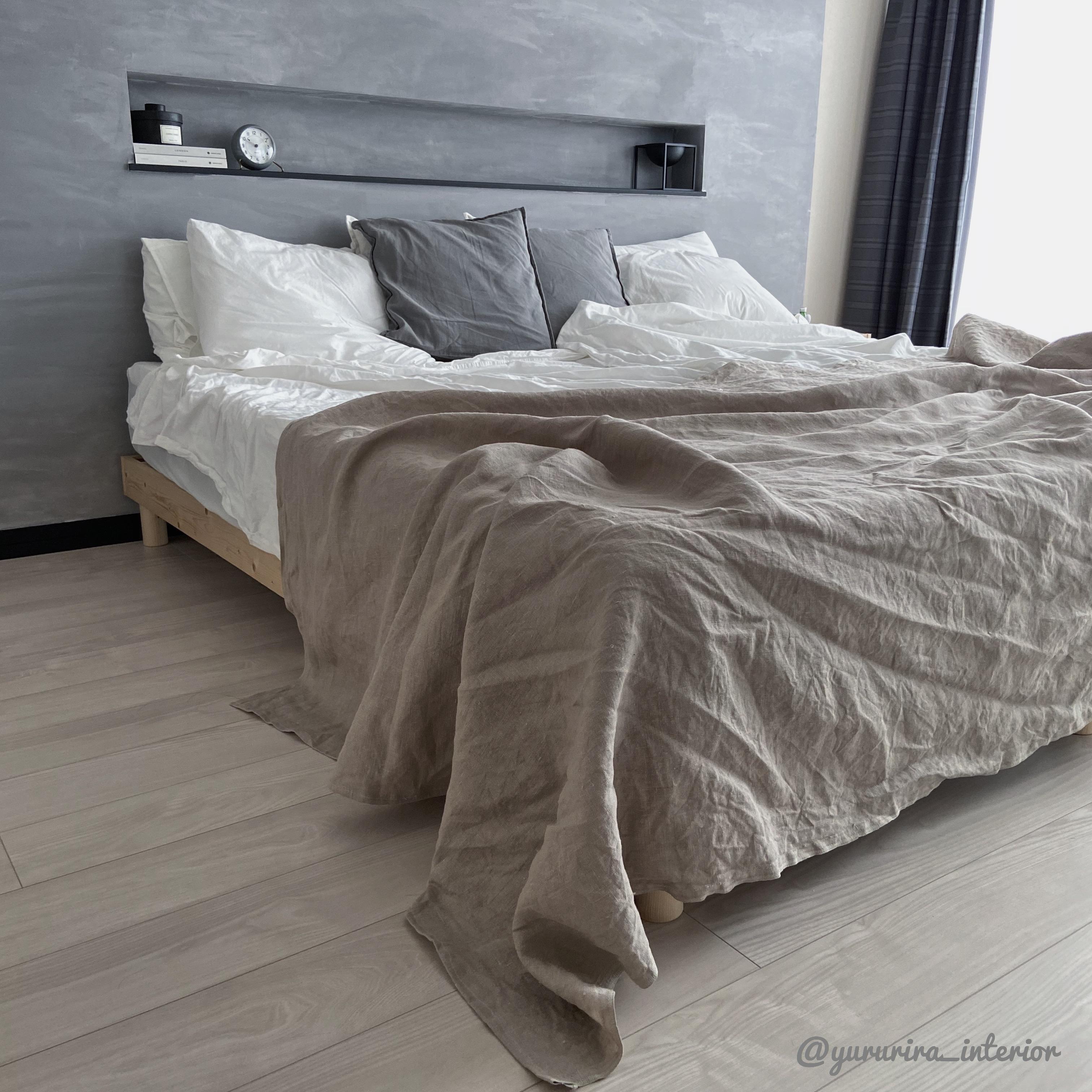 IKEAで生地を初購入!ナチュラルリネンのベッドカバーをハンドメイド♪