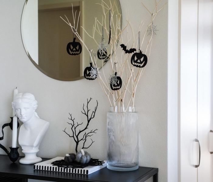 枝物が映える!大きめ花瓶と100均ハロウィンインテリア♪